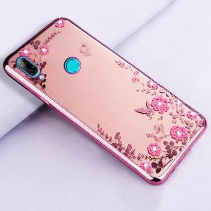 Zadný silikónový kryt na Huawei P Smart 2019 ružový s ružovými kvetmi