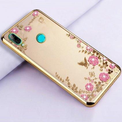 Zadný silikónový kryt na Huawei P Smart 2019 zlatý s ružovými kvetmi