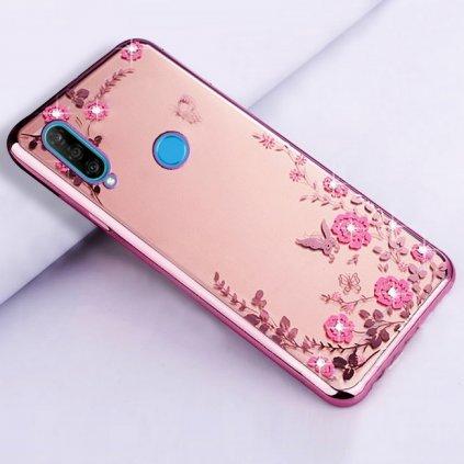 Zadný silikónový kryt na Huawei P30 Lite ružový s ružovými kvetmi