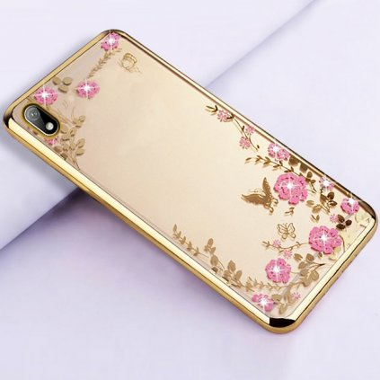 Zadný silikónový kryt na Huawei Y5 2019 zlatý s ružovými kvetmi
