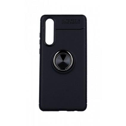Zadný silikónový kryt na Huawei P30 čierny s čiernym prsteňom