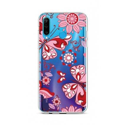 Zadný silikónový kryt na Huawei P30 Lite Pink Butterfly