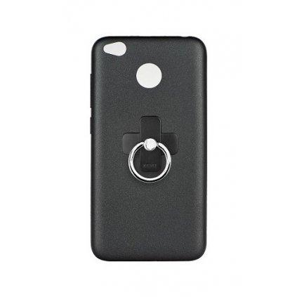 Zadný silikónový kryt X-LEVEL Jelly na Xiaomi Redmi 4X čierny s prsteňom