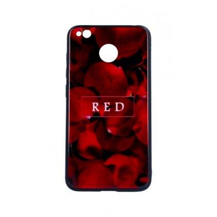 Zadný pevný kryt GLASS na Xiaomi Redmi 4X Red