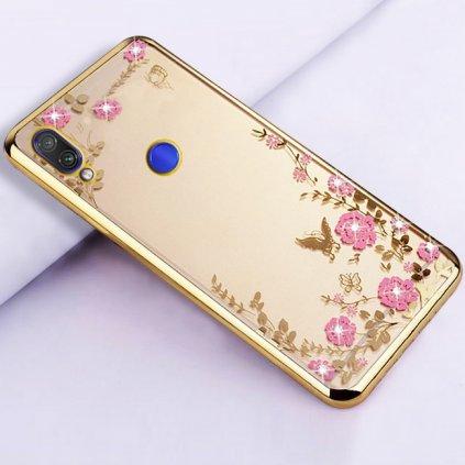 Zadný silikónový kryt na Xiaomi Redmi Note 7 zlatý s ružovými kvetmi
