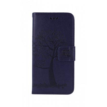 Flipové puzdro na Xiaomi Redmi Note 7 Tmavo fialový strom malej sovy