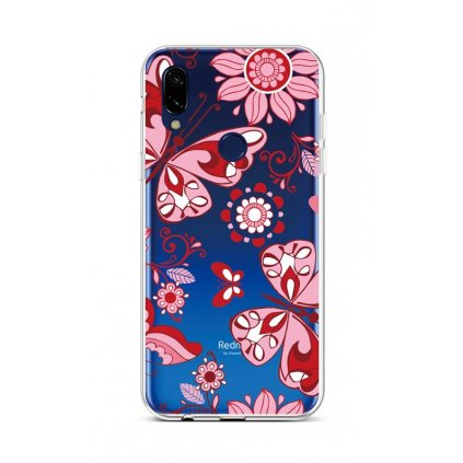 Zadný silikónový kryt na Xiaomi Redmi Note 7 Pink Butterfly