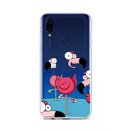 Zadný silikónový kryt na Xiaomi Redmi 7 Cartoon Flamingos