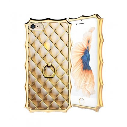 Zadný silikónový kryt na iPhone 7 Luxury Ring zlatý