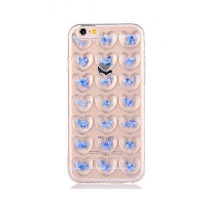 Zadný silikónový kryt na iPhone 7 3D srdce modrý