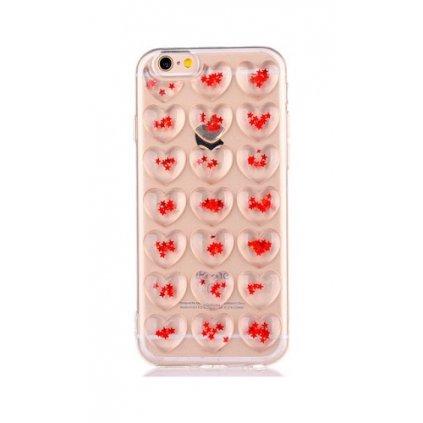 Zadný silikónový kryt na iPhone 7 3D srdce červený