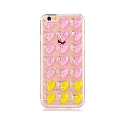 Zadný silikónový kryt na iPhone 7 3D srdce ružovo-žltý