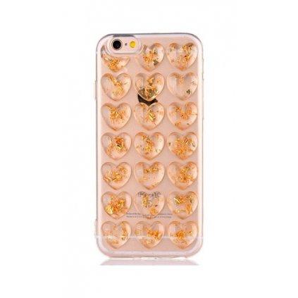 Zadný silikónový kryt na iPhone 7 3D Srdca zlatý