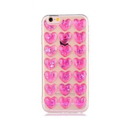 Zadný silikónový kryt na iPhone 7 3D srdce ružový