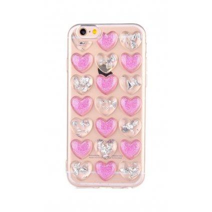 Zadný silikónový kryt na iPhone 7 3D srdce strieborno-ružový