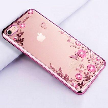 Zadný silikónový kryt na iPhone 7 ružový s ružovými kvetmi