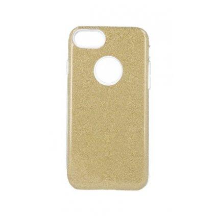 Zadný pevný kryt Forcell na iPhone 8 glitter zlatý