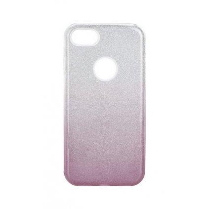 Zadný pevný kryt Forcell na iPhone 8 glitter strieborno-ružový