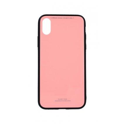 Zadný pevný kryt GLASS na iPhone X ružový