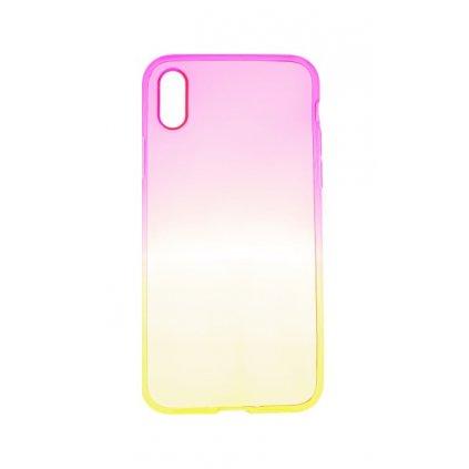 Zadný silikónový kryt Forcell na iPhone X dúhový ružový