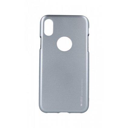 Zadný kryt Mercury iJelly Metal na iPhone XS s výrezom pre logo šedý