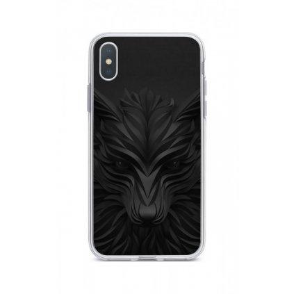 Zadný silikónový kryt na iPhone XS Max Čierny vlk