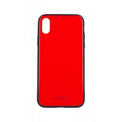 Zadný pevný kryt GLASS na iPhone XS červený
