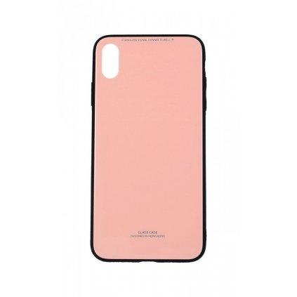 Zadný pevný kryt GLASS na iPhone XS Max ružový