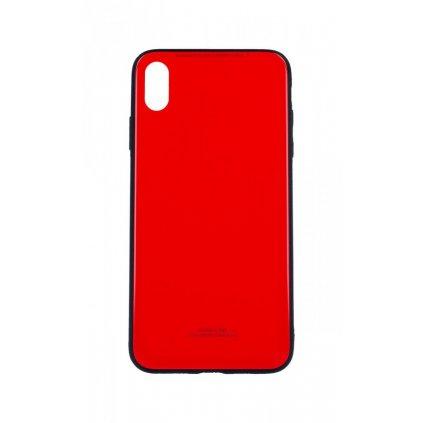 Zadný pevný kryt GLASS na iPhone XS Max červený