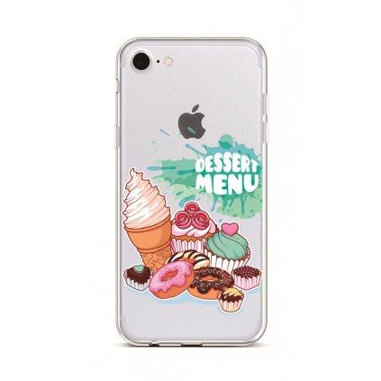 Zadný silikónový kryt na iPhone 7 Dessert Menu
