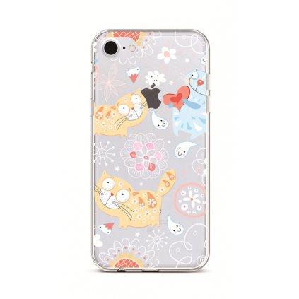 Zadný silikónový kryt na iPhone 7 Happy Cats