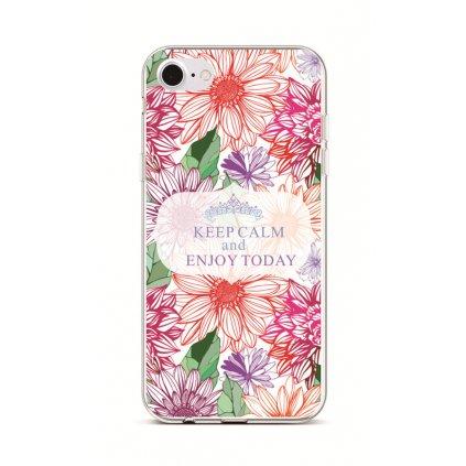Zadný silikónový kryt na iPhone 7 Keep Calm Flowers 2