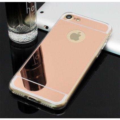 Zadný Zrkadlový kryt na iPhone 8 silikón ružový