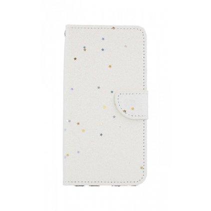 Flipové puzdro na Honor 8X glitter Biele s hviezdičkami