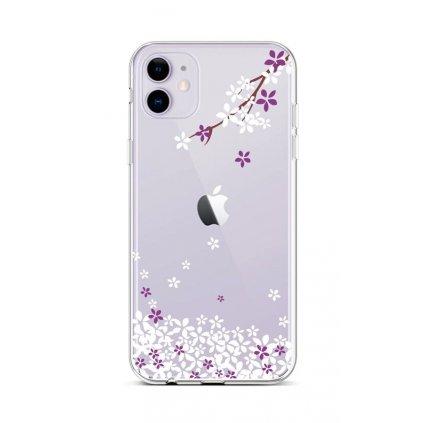Zadný silikónový kryt na iPhone 11 Kvety sakury