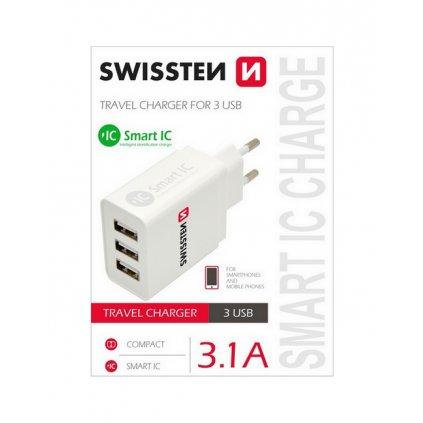 Cestovný adaptér Swissten 3.1A s tromi USB porty biely