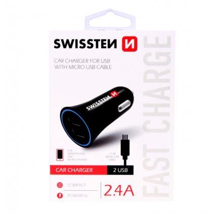 Nabíjačka do auta Swissten 2.4A čierna Dual čierna