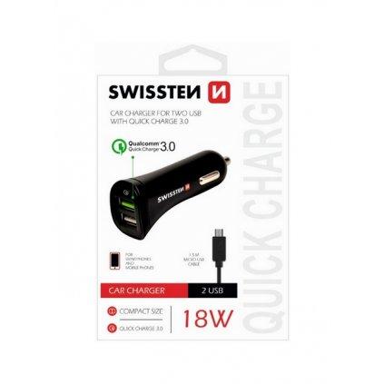 Rychlonabíjačka do auta Swissten micro USB 2.4A Dual čierna