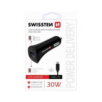 Nabíjačka do auta Swissten microUSB 30W čierna