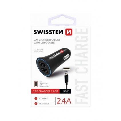 Nabíjačka do auta Swissten USB-C (Type C) 2.4A Dual čierna