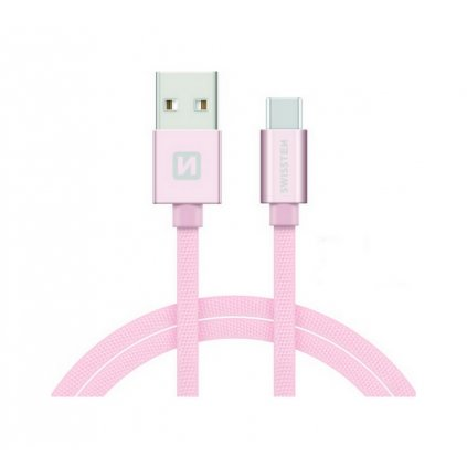 Dátový kábel Swissten USB-C (Type-C) 2m ružový
