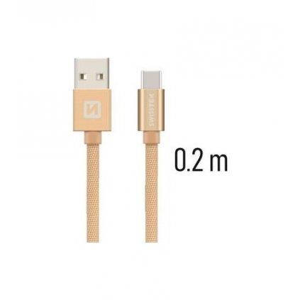 Dátový kábel Swissten USB-C (Type-C) 0,2m zlatý