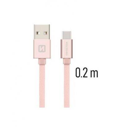 Dátový kábel Swissten USB-C (Type-C) 0,2m ružový