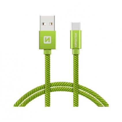 Dátový kábel Swissten USB-C (Type-C) 1,2m zelený