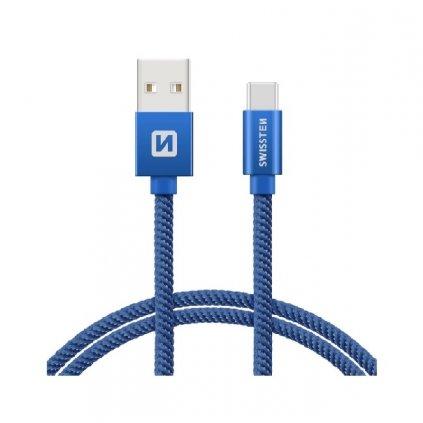 Dátový kábel Swissten USB-C (Type-C) 2m modrý