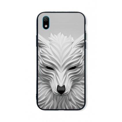 Zadný pevný kryt LUXURY na Huawei Y5 2019 Biely vlk