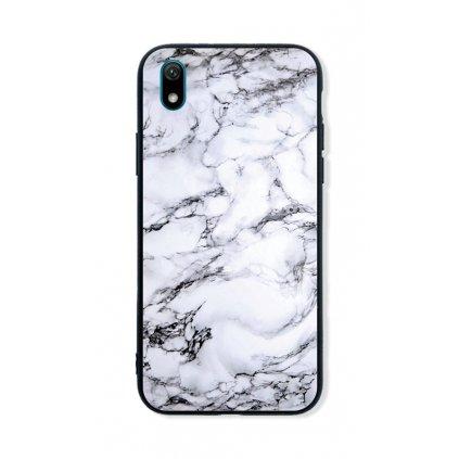 Zadný pevný kryt LUXURY na Huawei Y5 2019 Marble White