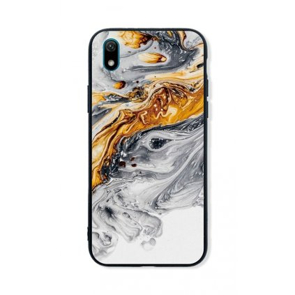 Zadný pevný kryt LUXURY na Huawei Y5 2019 Marble šedo-zlatý