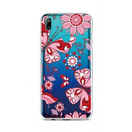 Zadný silikónový kryt na Huawei Y6 2019 Pink Butterfly