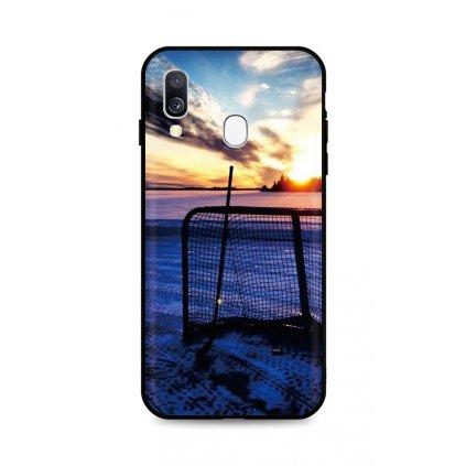 Zadný silikónový kryt DARK na Samsung A40 Hockey Sunset